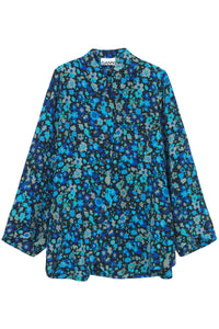 Silk Mix Shirt in Azure Blue