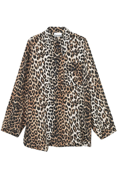 Silk Mix Shirt in Leopard