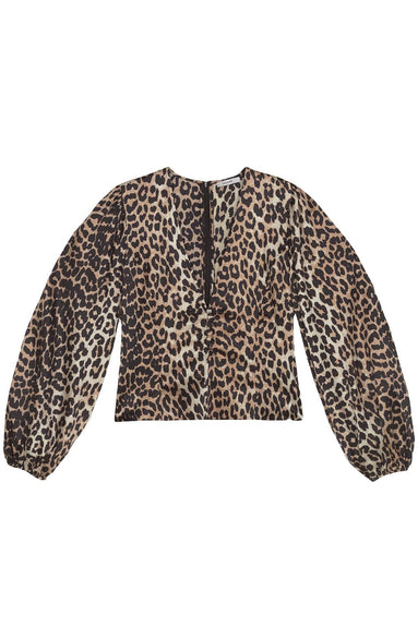 Silk Stretch Satin Top in Leopard