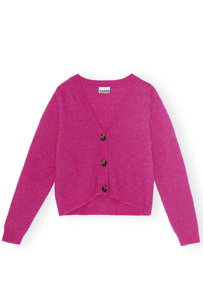Soft Wool Knit Cardigan in Fuchsia Red