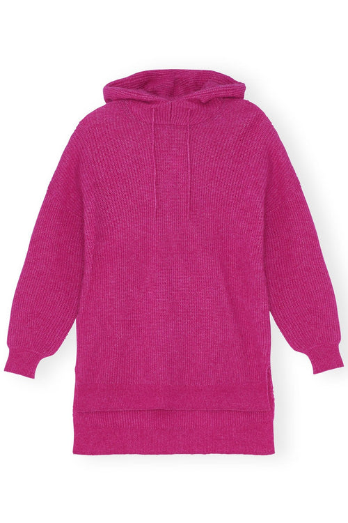 Soft Wool Knit Hoodie in Fuchsia Red
