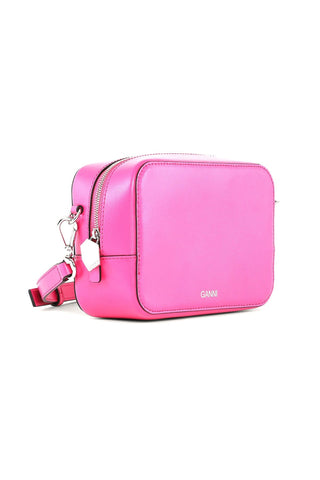 Textured Leather Bag in Shocking Pink
