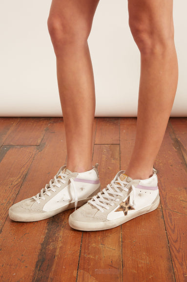 Mid Star Sneakers in White Leather/Leopard Star