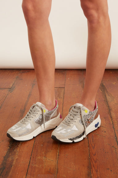 Running Sole Sneakers in Ice Suede/Embossed Star/Silver Glitter