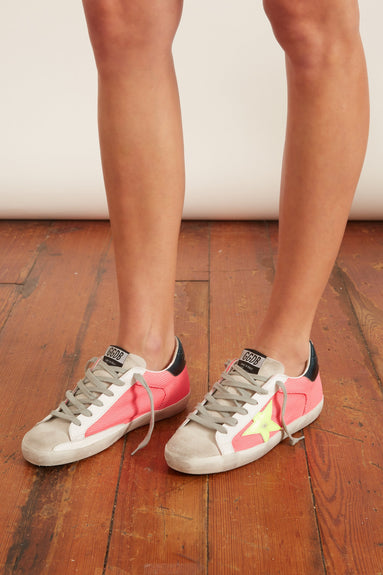 Superstar Sneaker in Fuxia Mesh/Yellow Star/Leopard Lace