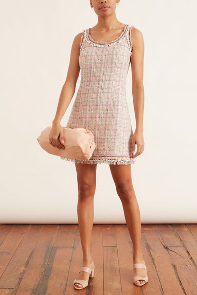 Check Gauze Dress in Rose/Ivoire