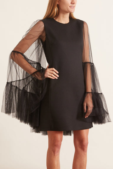 Flared Tulle Sleeve Mini Dress in Black