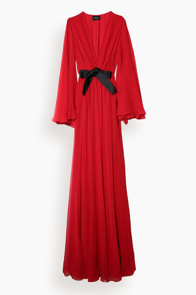 Chiffon Gown with Bow in Rubino