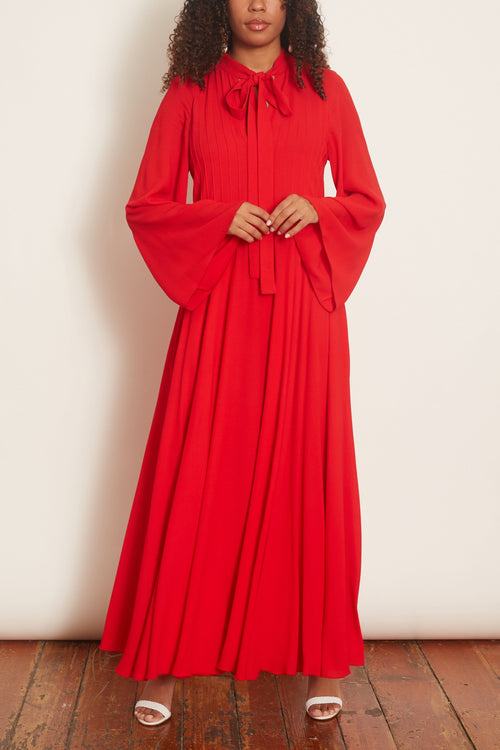 Tie Neck Silk Crepe Gown in Red