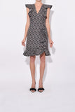 Boucle Flutter Dress in Black Rose White