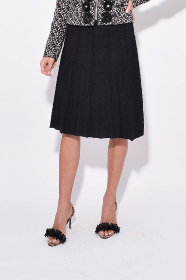 Pleated A-Line Skirt in Black