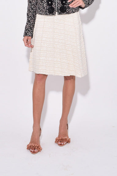 Pleated A-Line Skirt in Natural