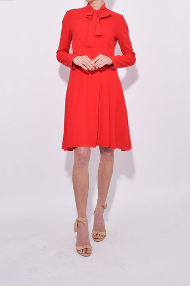 Tie Neck Long Sleeve Dress in Deep Rouge