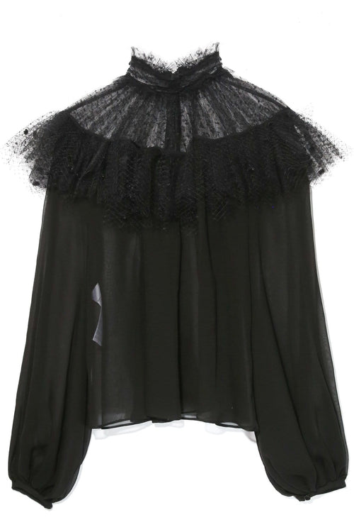 Tulle Ruffle Top in Black