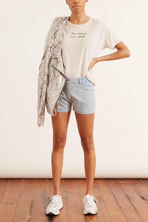 Zoey Shorts in Light Wash Blue/Silver