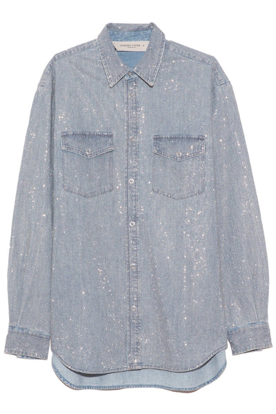 Becca Boyfriend Shirt in Light Wash Blue/Silver