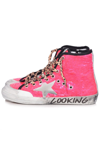 Francy Sneakers in Pink Fluo Pailettes