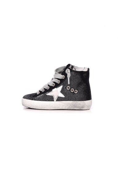 Kids Francy Sneaker in Silver Velvet/White Star