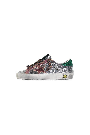 Kids Superstar Sneaker in Multi Glitter/Leopard Lace