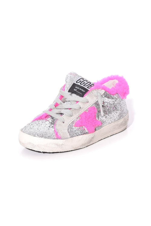 Kids Superstar Sneaker in Silver Glitter/Fuxia Shearling