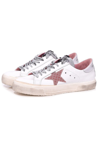 May Sneaker in White Shiny Leather/3D Hearts