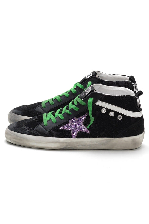 Mid Star Sneakers in Black Damask Velvet/Multiglitter Star