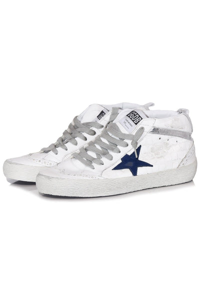 Mid Star Sneaker in White Shiny Croc