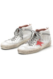 Mid Star Sneaker in White Used/Pink Patent Star