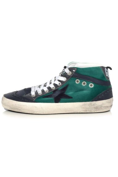 Mid Star Sneakers in Emerald Velvet with Blue Star