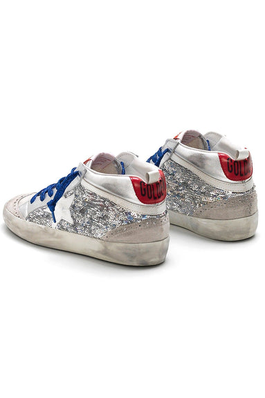 Mid Star Sneakers in Silver Pailettes/White Star