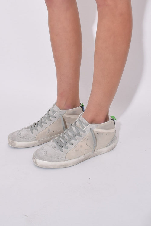 Mid Star Sneakers in White Leather