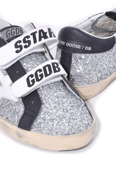 Old School Sneakers in Silver Glitter/White Star