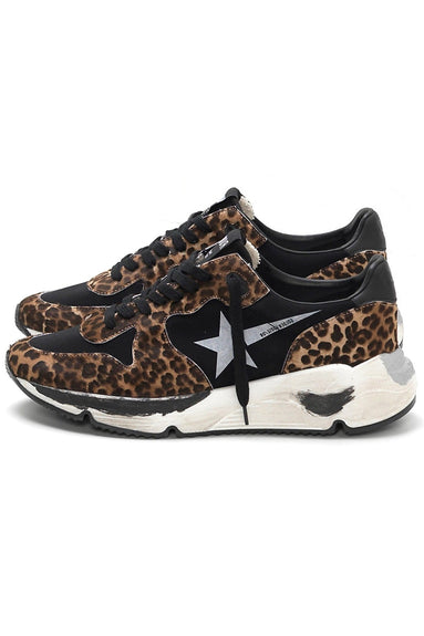 Running Sneakers in Leopard Pony Hair/White