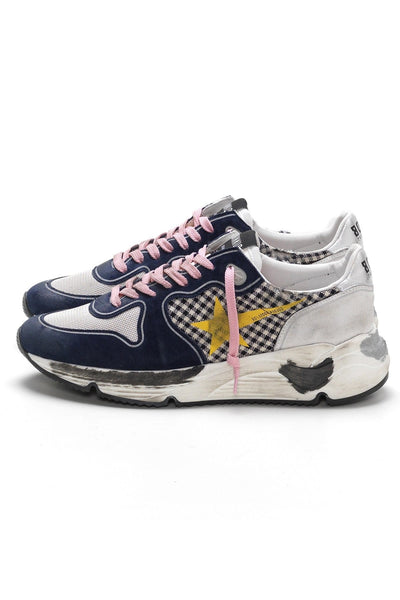 Running Sneakers in White Check/Yellow Star