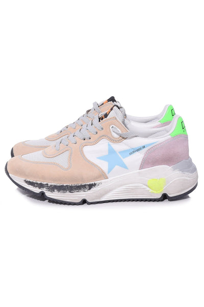 Running Sole Sneakers in White Nylon/Light Blue Star
