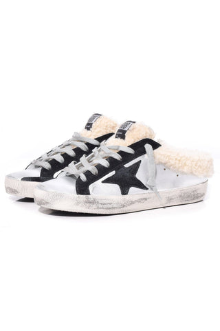 Sabot Superstar Sneakers in Silver/Shearling