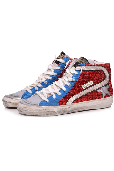Slide Sneaker in Red Lurex/Blue Gold Lizard