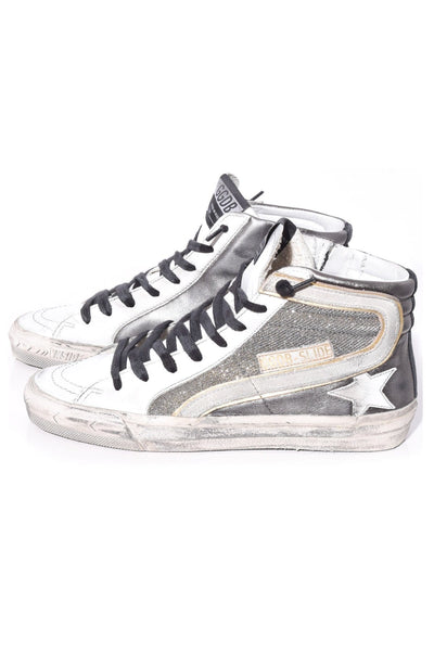 Slide Sneakers in Gunmetal/Shimmer/White Star