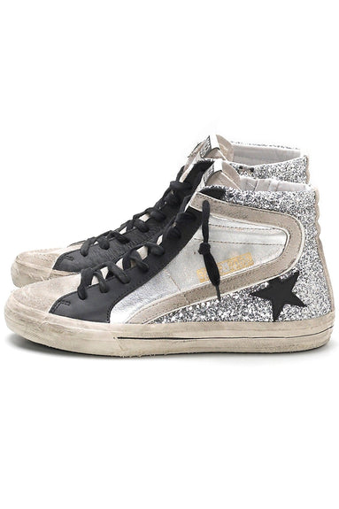 Slide Sneakers in Silver Glitter Leather/Black Star