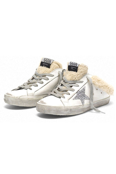 Superstar Mule Sneakers in White Leather/Silver Glitter Star