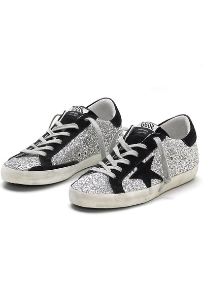 Superstar Sneaker in Silver Glitter/Black Suede Star