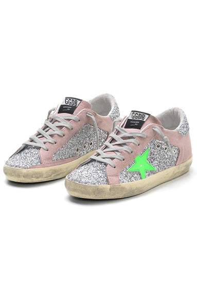 Superstar Sneakers in Silver Glitter/Pink Suede