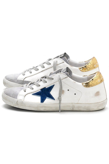 Superstar Sneakers in White Leather with Gold Crackle