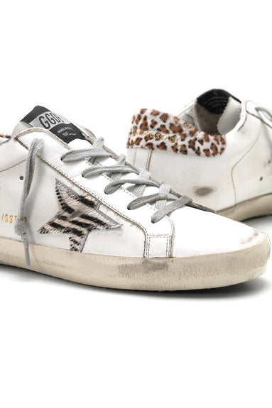Superstar Sneaker in White Leather/Wild