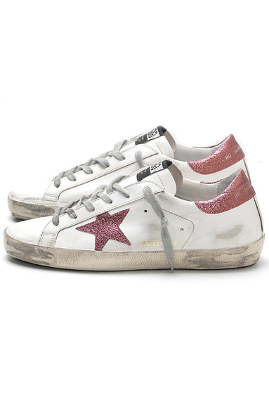 Superstar Sneaker in White/Rose Glitter