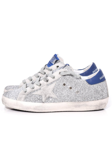 Superstar Sneakers in Silver Glitter/Navy/Ice Star