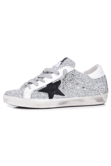 Superstar Sneakers in Silver Glitter/Black Star