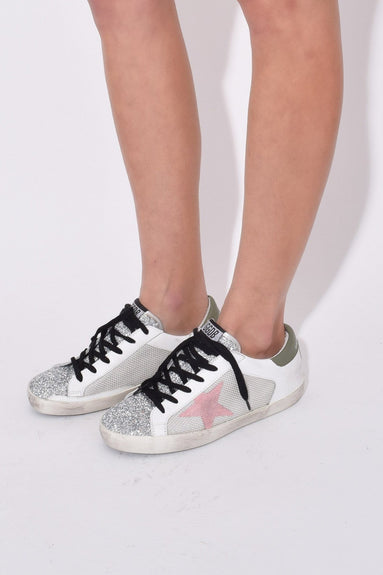 Superstar Sneakers in White Grey Cord/Silver Glitter