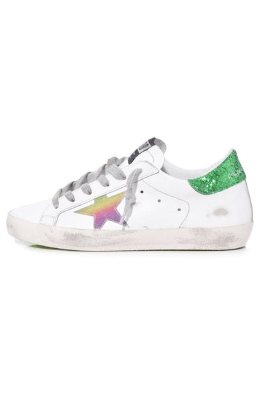 Superstar Sneakers in White Leather/Green Rainbow Star