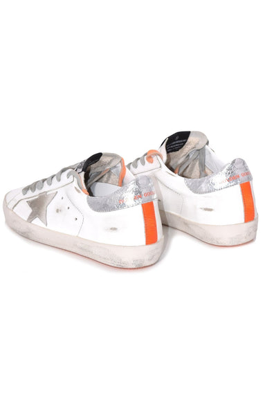 Superstar Sneakers in White Leather with Orange Fluo Sole